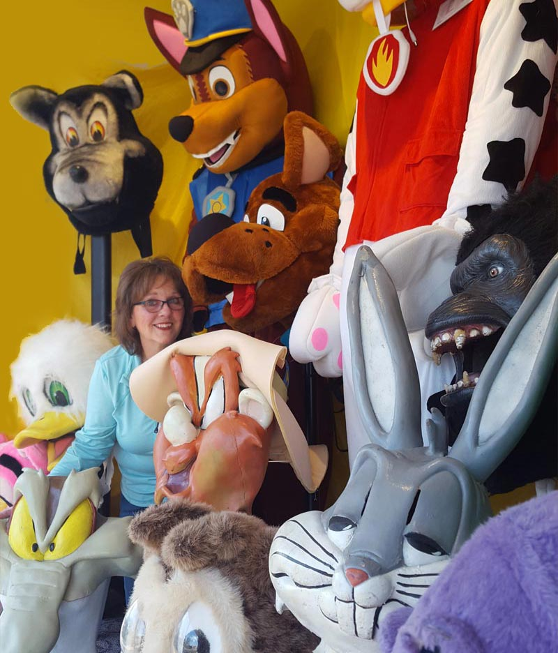kostume room owner gayle varrtjes with mascot costumes