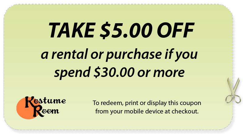 kostume room coupon 5 dollars off