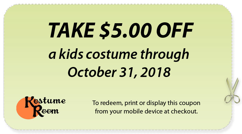 kostume room coupon 5 dollars off kids costume