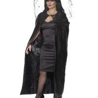 Black Satin Witch Cape
