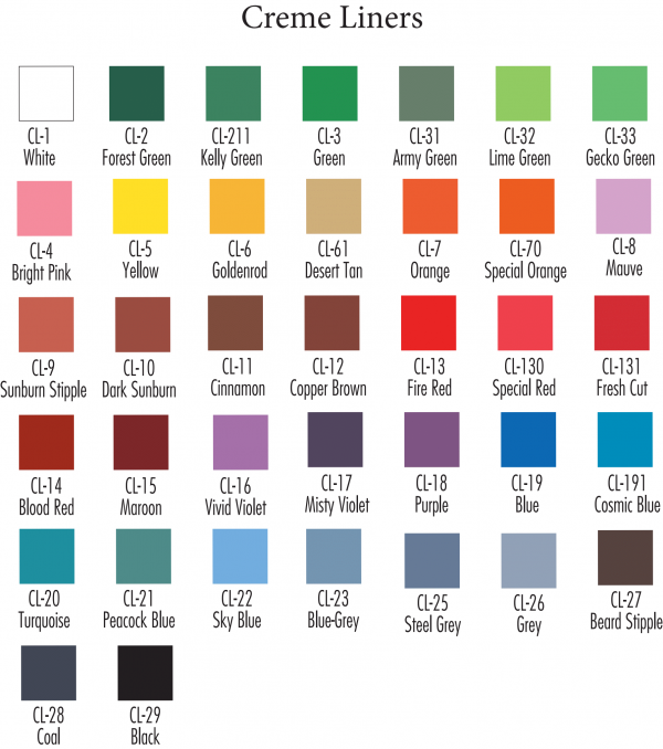 color creme liner chart,color chart,ben nye color liner chart,kostumeroom,kostume room,costumeroom,costume room