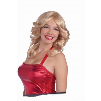 70's disco flared style blonde wig